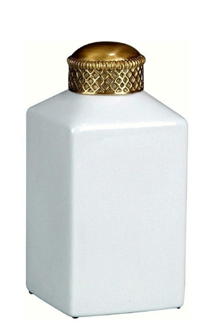 Luxe Life Glossy White Crackle Finely Finished Porcelain and Gilt Bronze Ormolu - Square 8 Inch Decorative Jar