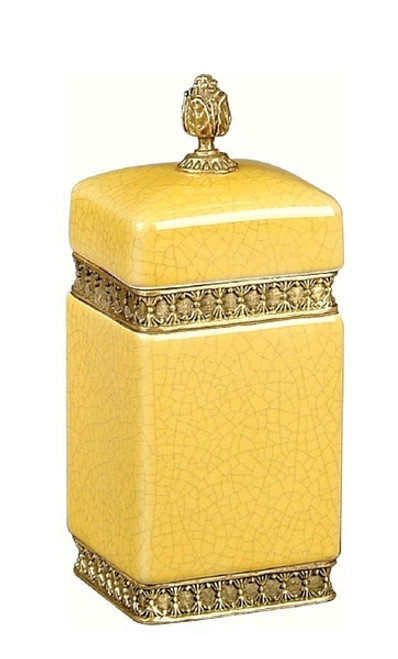Luxe Life Finely Finished Yellow Crackle Porcelain and Gilt Bronze Ormolu - 8 Inch Decorative Box