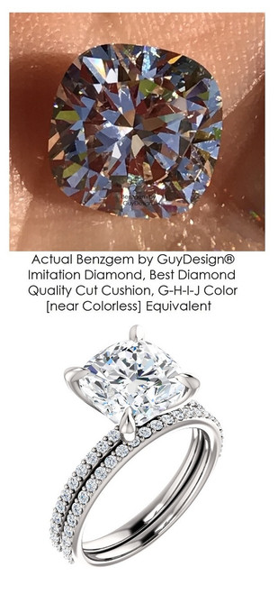 Benzgem by GuyDesign® Luxury 03.10 Carat Square Cushion Imitation Diamond with g+ VS Diamond Semi-Mount, Contemporary Elegance Wedding Set size 4.5, 14k, 10178