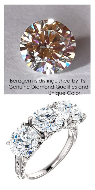 Benzgem by GuyDesign® Luxury 05.73 Carats H&A Signature Imitation Diamonds with g+ VS Diamond Semi-Mount, 3 Stone Ring, 14k Gold, 10179