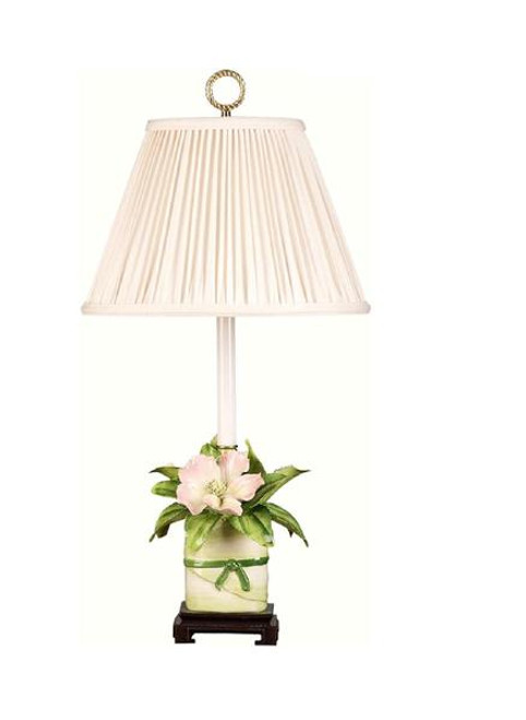 Luxe Life Finely Finished Hand Painted Porcelain - 23 Inch Accent | Tabletop Lamp - Sculptured Flower Garden Motif