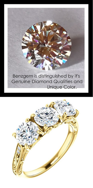 Benzgem by GuyDesign® Luxury 02.40 Carats H&A Signature Imitation Diamonds with g+ VS Diamond Semi-Mount, 3 Stone Ring, 14k Gold, 10181