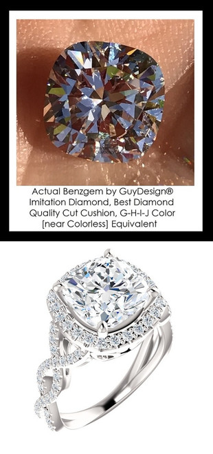 Benzgem by GuyDesign®, Luxury, Diamond Quality 3.21 Carat Cushion Shape, Alternative Solitaire, Mined diamond Semi-Mount, Romance, Bespoke 14 karat Engagement Ring, 10184