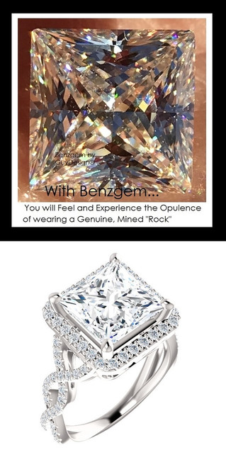 Benzgem by GuyDesign®, Luxury, Diamond Quality 3.81 Carat Princess Shape, Alternative Solitaire, Mined diamond Semi-Mount, Romance, Bespoke 14 karat Engagement Ring, 10185