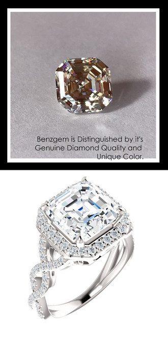 Benzgem by GuyDesign®, Luxury, Diamond Quality 4.50 Carat Asscher Cut, Alternative Solitaire, Mined 74 diamond Semi-Mount, Romance, Bespoke 14 karat Engagement Ring, 10187