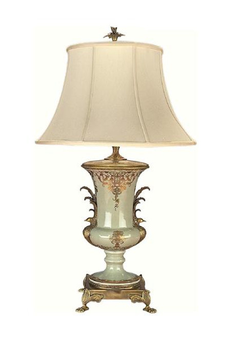 Luxe Life Finely Finished Hand Painted Porcelain and Gilt Bronze Ormolu - 32 Inch Accent   Tabletop Lamp - Celadon Flourish Pattern