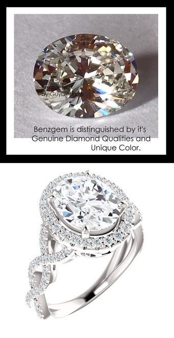 2.66 Benzgem by GuyDesign®, Luxury, Diamond Quality 2.66 Carat Oval Cut, Alternative Solitaire, Mined 72 diamond Semi-Mount, Romance, Bespoke 14 karat Engagement Ring, 10188
