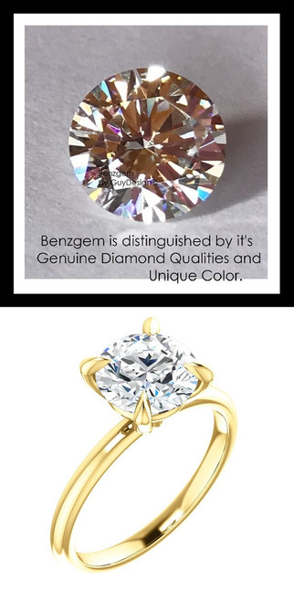 1.91 Custom Benzgem by GuyDesign®, Luxury, G-H-I-J Diamond Quality 1.91 Carat H&A Round Cut, Modern Tiffany Alternative Solitaire, 14 Karat Gold Engagement Ring, 10192