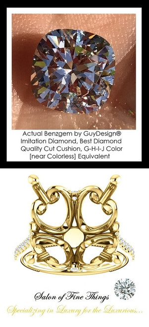 Benzgem by GuyDesign®, G-H-I-J, Color, 12.89 Carat Cushion Shape, Best Alternative Diamond with H & A Mined Diamond Semi-Mount, Louis XIV Baroque Scroll Solitaire Ring, 18 Karat Yellow Gold, 10210