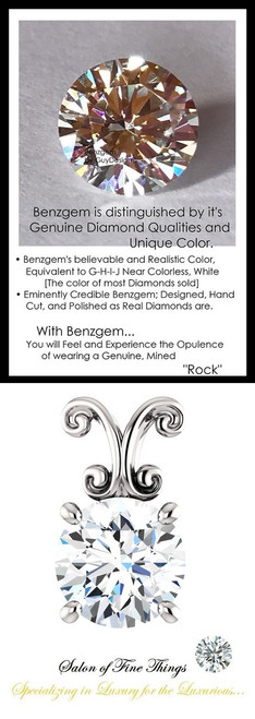 1.91 Carat Hearts & Arrows Benzgem; G-H-I-J Diamond Quality Color Imitation, GuyDesign® Louis XIV Baroque Scroll Necklace Pendant, 14k White Gold, 10211