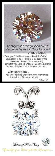 1.91 Carat Hearts & Arrows Benzgem; G-H-I-J Diamond Quality Color Imitation, GuyDesign® Louis XIV Baroque Scroll Necklace Pendant, 14k White Gold, 10211