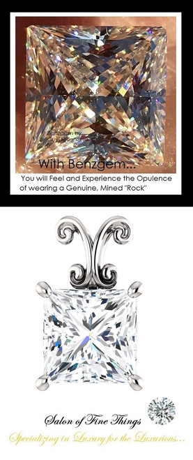 3.81 Carat Princess Cut Benzgem: Best G-H-I-J Diamond Color Imitation; GuyDesign® Louis XIV Baroque Scroll Pendant Necklace: 14k White Gold Custom Jewelry - 10213