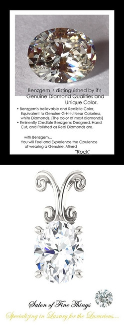 2.66 Carat Oval Shape Benzgem Imitation Diamond, Diamond Quality Color; G-H-I-J Near Colorless, GuyDesign® Louis XIV Baroque Scroll Necklace Pendant, Sterling Silver, 10216