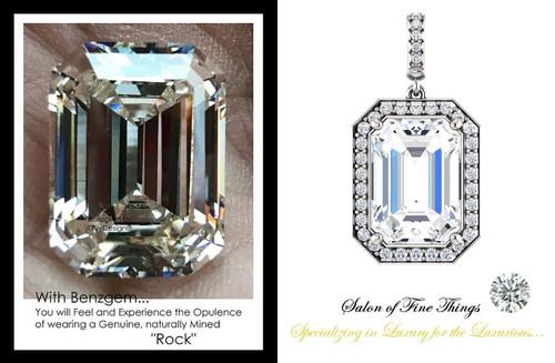 14.22 Ct. Brilliant Emerald Benzgem: Best G-H-I-J Diamond Quality Color Imitation; GuyDesign® Mined Diamond encrusted Halo Dangle Pendant Necklace: DG860725.91020000.270685