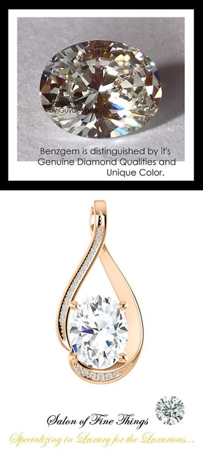 2.66 Ct. Hand Cut Oval Shape Benzgem: Best G-H-I-J Diamond Quality Color Imitation; GuyDesign® Mined Diamond Encrusted Pendant Necklace: DG864191.91020000.914681
