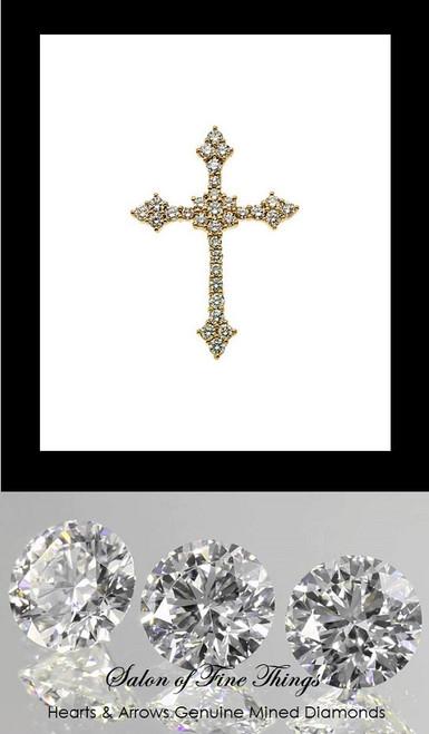 GuyDesign® Gold and Diamond Bespoke Cross Pendant, Necklace, .88 Carat, 32 F+ Color, VS Clarity Hearts & Arrows Mined Diamonds, 10219