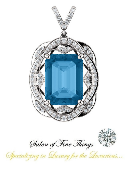 16 x 12 mm Emerald Cut Swiss Blue Topaz measures .63 x .47 inches, GuyDesign®, Opulent Platinum Pendant Necklace DG121689.91020000.86121.9