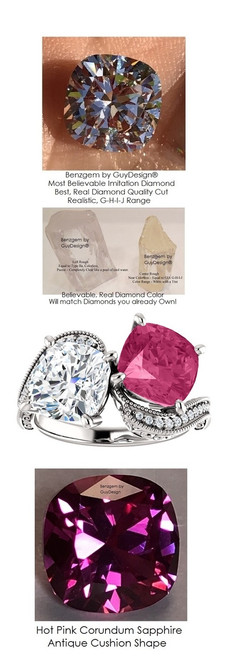 7 Carat and 11 points, Ladies Mined Diamond Semi-Mount Two Stone Wedding Ring, Benzgem by GuyDesign® Lab-Created Corundum Sapphire, and Best Cushion G-H-I-J Color Diamond Simulant .7045
