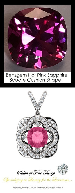 4 Carat Cushion Cut Hot Pink Corundum Sapphire, Lab-Grown GuyDesign® Synthetics, Opulent Platinum Pendant Necklace DG121689.91020000.86121.9
