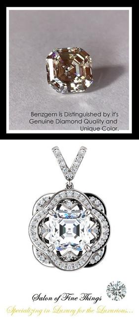 4.50 Carat Royal Asscher Cut Benzgem Diamond Alternative, Believable and Realistic G-H-I-J Near Colorless White, GuyDesign® Opulent Platinum Pendant Necklace DG121689.91020000.86121.9