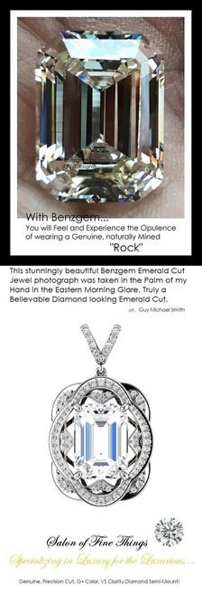 15 Ct Brilliant Emerald Cut Benzgem, Believable and Realistic; G-H-I-J Near Colorless White Alternative Diamond, GuyDesign®, Opulent Platinum Pendant Necklace DG121689.91020000.86121.9
