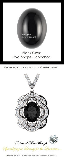 10 x 8 mm. Natural Chalcedony, Cabochon Black Onyx, Set with Precision Cut, G+, VS Mined Diamonds, GuyDesign®, Opulent 14 karat White Gold Pendant Necklace - 10275