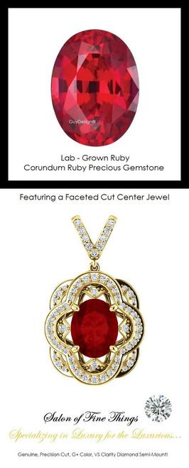 3.50 Ct. Lab-Grown Corundum Ruby, Set with Precision Cut, G+, VS Mined Diamonds, GuyDesign®, Opulent 14 karat Yellow Gold Pendant Necklace DG121689.91020000.86121.9
