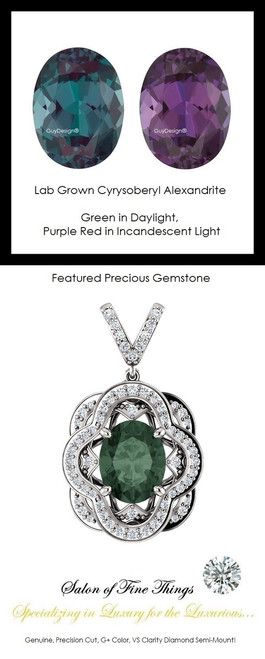 3.35 Ct. Lab-Grown Chrysoberyl Alexandrite, Set with Precision Cut, G+, VS Mined Diamonds, GuyDesign®, Opulent 14 karat White Gold Pendant Necklace DG121689.91020000.86121.9