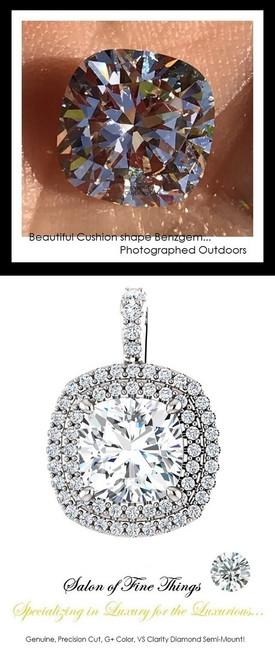 GuyDesign®, Opulent Platinum Pendant Necklace DG628683.91020000.86826, 3.20 Carat Cushion Shape Benzgem, Set with Precision Cut, G+, VS Mined Diamonds