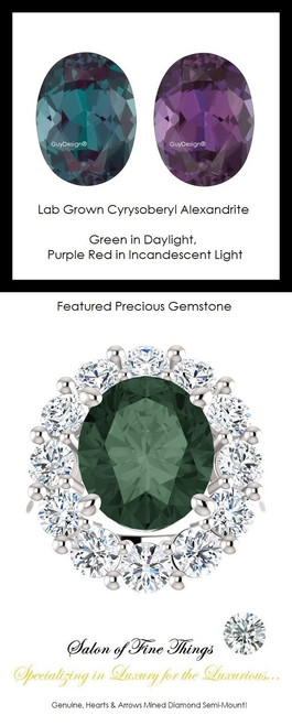 6.40 GuyDesign®, Opulent Platinum Diana Style Ring DG168175.91020000.71861, 6.40 Carat Oval Shape Lab-Grown Chrysoberyl Alexandrite, Set with 2.40 Carats of Hearts & Arrows, F+, VS Mined Diamonds. 754 Combinations Available
