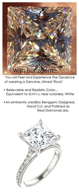 3.81 Benzgem by GuyDesign®, 03.81 Carat Princess Cut Quadrillion Shape Jewelry Sample, Size 7, Tarnish Resistant Silver 6705-123063