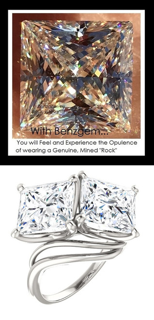 3.81 Benzgem by GuyDesign®, 07.62 Carat Princess Cut TGW. Jewelry Sample, Size 7, Tarnish Resistant Silver 10287-123136