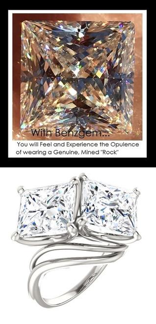 3.81 Benzgem by GuyDesign®, 07.62 Carat Princess Cut TGW. Jewelry Sample, Size 7, Tarnish Resistant Silver 10287-123136