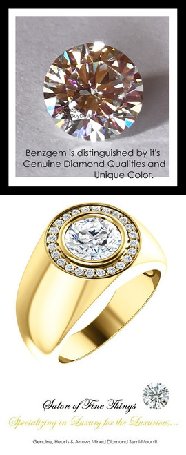 1.91 Carat G-H-I-J Color Range Diamond Solitaire Alternative with Hearts & Arrows F+ Color and VS Clarity Mined Diamonds, 18 Karat Yellow Gold Pinky Ring, GuyDesign® Men's Ideal Ring for Diamonds, 10288.9855.9