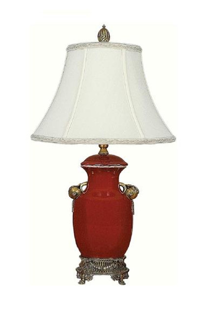 Luxe Life Finely Finished Hand Painted Porcelain and Gilt Bronze Ormolu - 21 Inch Accent | Tabletop Lamp - Glossy Red Finish