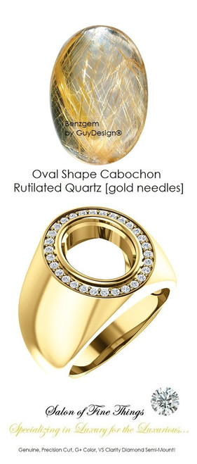12 x 10 Cabochon Oval Shape, Rutilated Quartz [Gold Needles] with Precise Cut G+ Color and VS Clarity Mined Diamonds, 18 Karat Yellow Gold Ring, GuyDesign® Men's Ideal Ring for Gemstones, 10295.9855.9