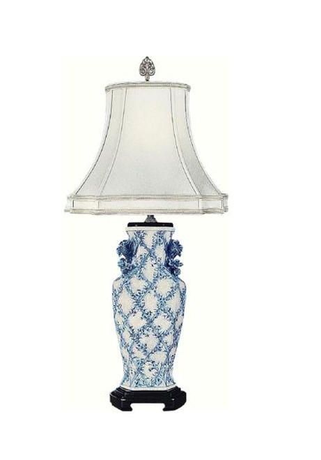Luxe Life Finely Finished Hand Painted Porcelain - 30 Inch Accent | Tabletop Lamp - Classic Blue and White Pattern