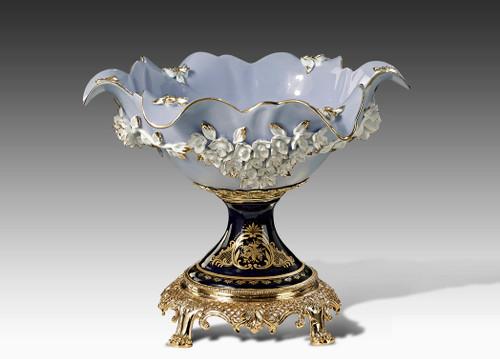 "***Lyvrich   Handmade Fine Porcelain Flowers, Pedestal Basin, Centerpiece Bowl,   Porcelain with Gilded Dior Ormolu Trim,   10.25""t X 13.50""L X 12.25""d   6571"