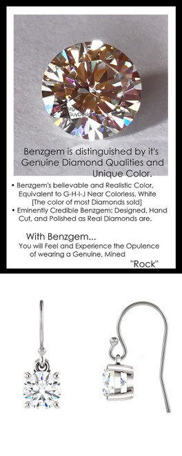 1.00 Ct. TGW. Benzgem Hearts and Arrows, Ideal Round Cut; Looks and feels Real, Most Believable Simulated Solitaire Diamond Stud Earrings. Brand: GuyDesign® Customizable 14k White Gold Dangle Earrings, 10377