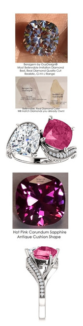 7.11 Ct. Ladies Mined Diamond Semi-Mount Two Stone Wedding Ring, Benzgem by GuyDesign® Lab-Created Corundum Sapphire, and Best Cushion G-H-I-J Color Diamond Simulant 10379