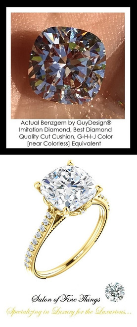 Benzgem by GuyDesign®, G-H-I-J, Color, 3.21 Carat Cushion Shape, Best Alternative Diamond with H & A Mined Diamond Semi-Mount, Louis XIV Baroque Scroll Solitaire Ring, 18 Karat Yellow Gold, 10385