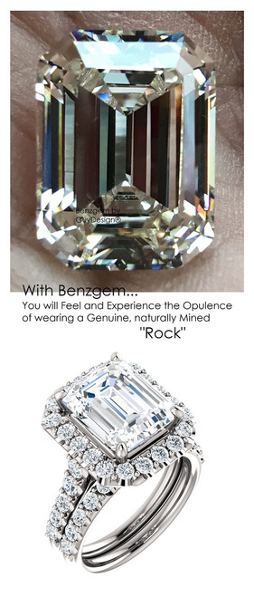 5.50 Carat Believable and Realistic Simulated Diamond Solitaire Emerald Cut Benzgem matches Convincingly the Natural 44 Diamond Semi-Mount; GuyDesign Halo Engagement or Right-Hand Ring - 14k White Gold, 10388,