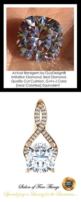 3.21 Ct. Cushion Benzgem: Best G-H-I-J Diamond Quality Imitation; GuyDesign® Breast Cancer Survivor's Pendant Necklace: Lab-Grown Pavé Diamonds Custom Gold Jewelry, 10389