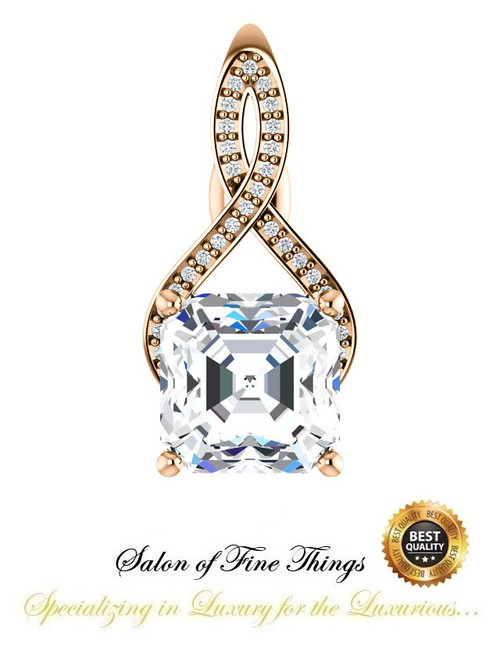 4.50 Ct. Asscher Benzgem: Best G-H-I-J Diamond Quality Imitation; GuyDesign® Breast Cancer Survivor Pendant Necklace: Lab-Grown Pavé Diamonds Custom Gold Jewelry, 10396