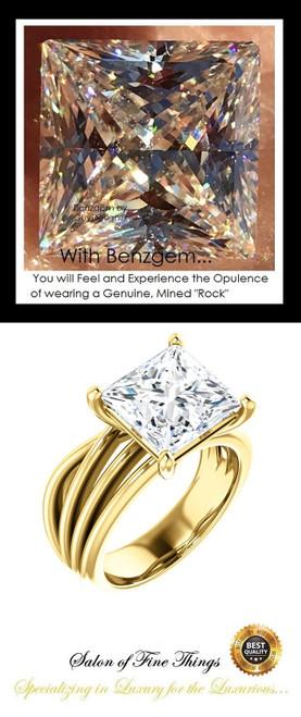 360° Video - 3.81 Ct. Princess Benzgem: Best G-H-I-J Diamond Quality Cut & Color Imitation; GuyDesign® Statement | Engagement Ring:  Custom Gold Jewelry, 10398