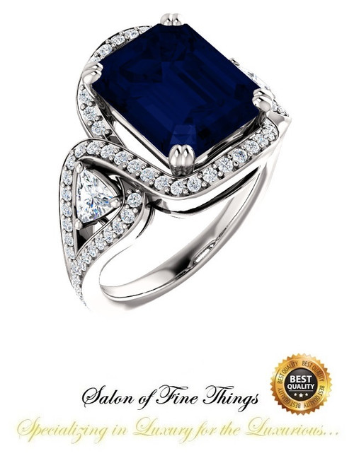 360° Video - 6.50 Ct Emerald Cut Chatham Lab-Grown Blue Sapphire: GuyDesign® Halo & Gemstone Engagement Ring: Natural Pavé Diamonds Custom Platinum Jewelry, 10399