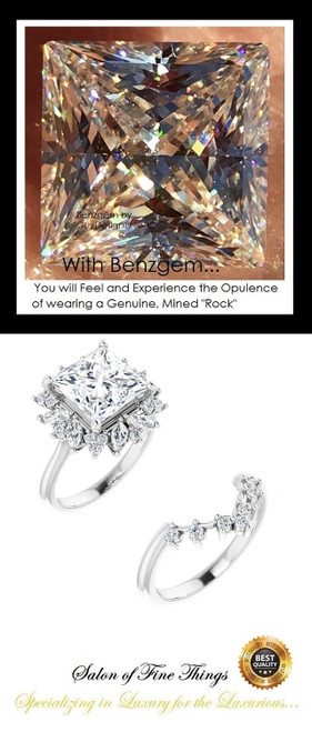 Halo Engagement Rings, Princess Cut Engagement Rings, Diamond Semi-Mount, Gold Ring, Simulated Diamond, Mine Diamond, Wedding Sets, 10412
