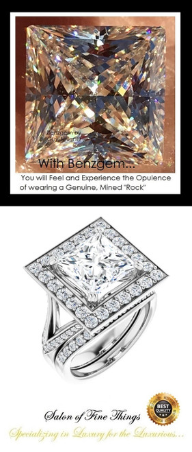 3.81 Ct. Princess Benzgem: Best G-H-I-J Diamond Quality Imitation: GuyDesign® Continental Halo Engagement Ring: Natural Pavé Diamonds Custom Gold Jewelry, 10414
