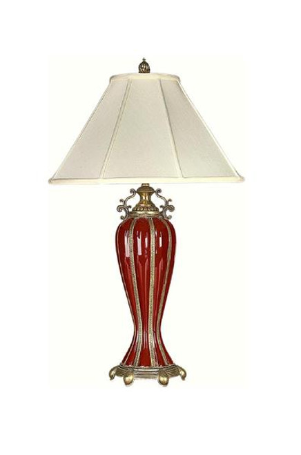 Luxe Life Finely Finished Hand Painted Porcelain and Gilt Bronze Ormolu - 30 Inch Accent | Tabletop Lamp - Glossy Red Finish
