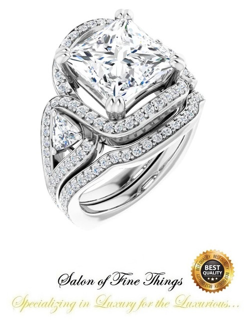 3 Stone Engagement Ring, Halo Engagement Rings, Diamond Semi-Mount, Princess Cut, Platinum, Simulated Diamond, Natural Diamond, Wedding Sets, 10426